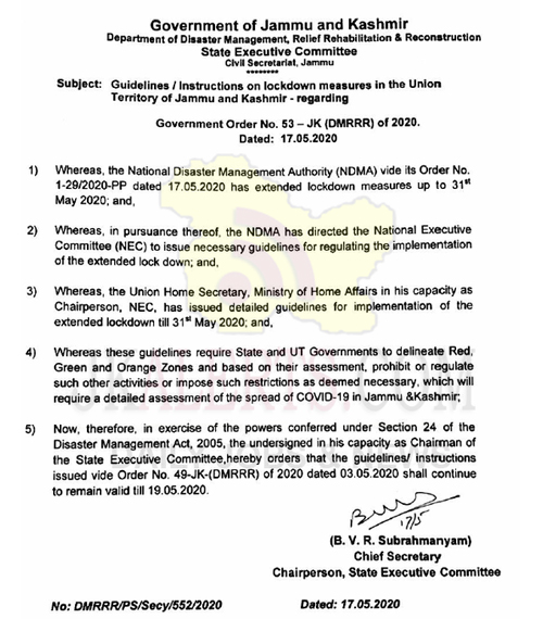 J&K Govt, lockdown guidelines, issued on 3rd Ma, remain valid , J&K ,19th May.