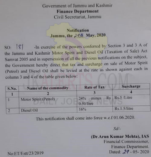Petrol wil be costly by ₹5 per litre and diesel by ₹1.50 per litre in J&K.