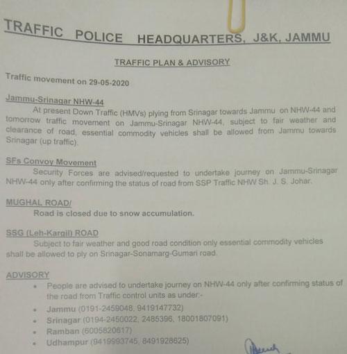 Traffic on Jammu Srinagar National Highway NHW44 for 29-05-2020.