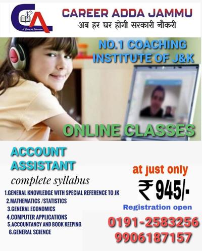 Career Adda Jammu, start online classes ,Accounts Assistant.