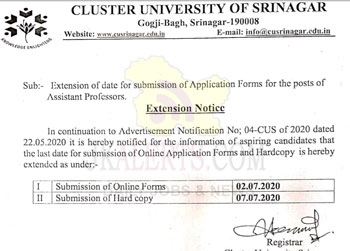 Cluster University Srinagar Jobs Recruitment 2020.