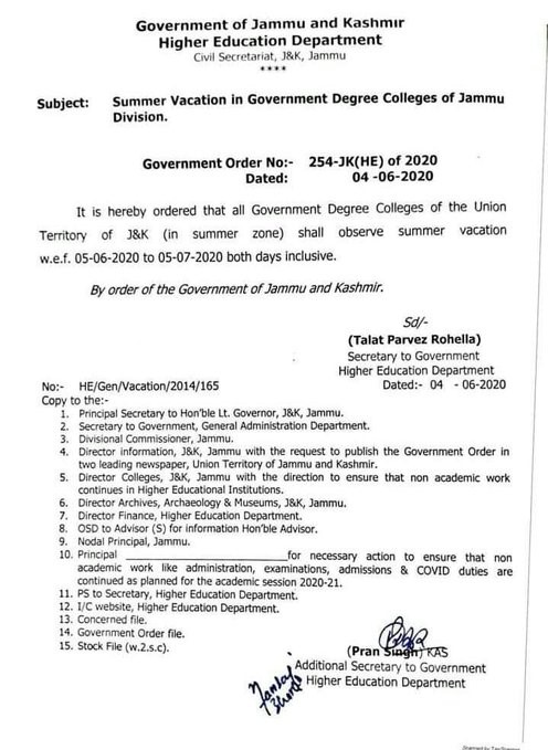 Summer Vacation in Government Degree Colleges Jammu Division till 5th July
