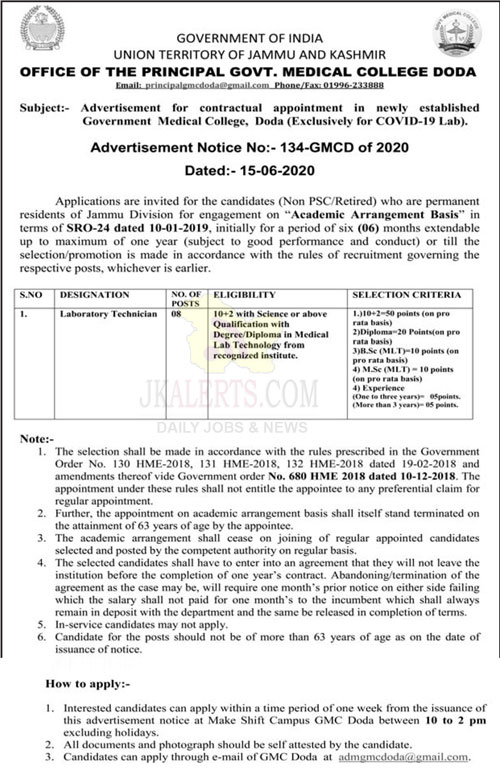 GMC Doda Recruitment 2020.