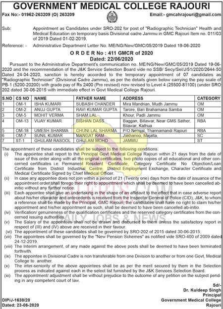GMC Rajouri appointment of Radiographic Technician.