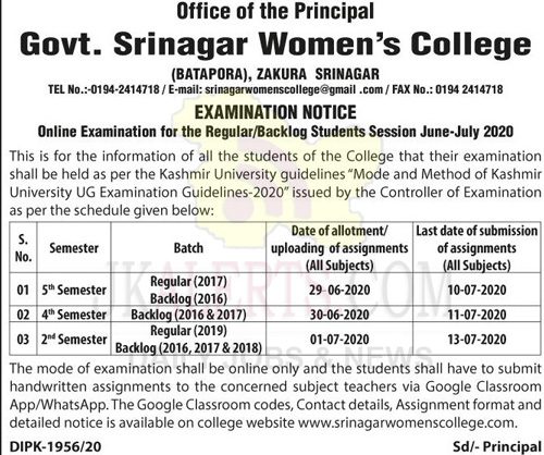 Govt Srinagar Women College Examination Notice.