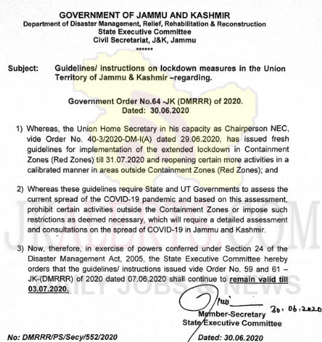 J&K Guidelines/instructions on lockdown measures shall remain valid till 3rd July.