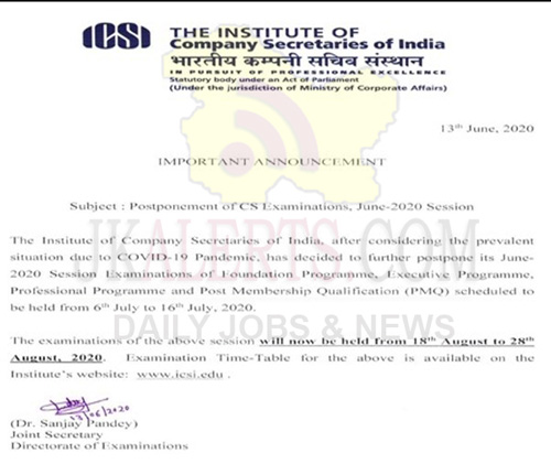 ICSI postpones its June session examinations till August.