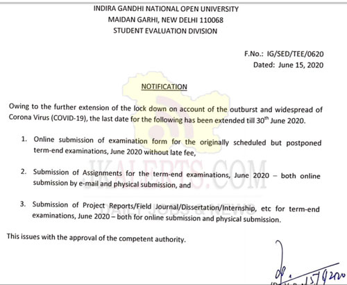 Notification for extension of last date for submission of exam form, assignments, projects and other components.