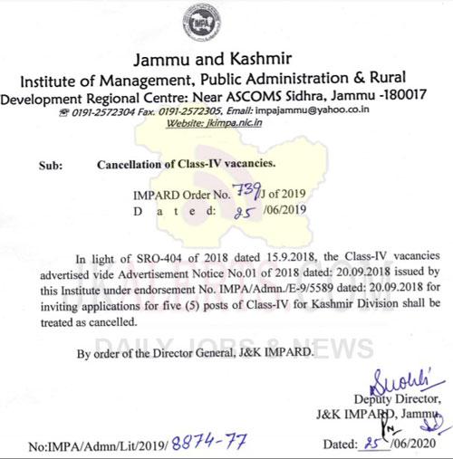 JKIMPARD Cancellation of Class-IV Vacancies.
