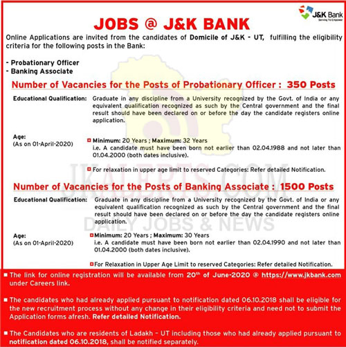 J&K Bank Jobs Recruitment 2020 1850 Posts.