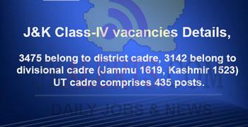 J&K Class-IV ,vacancies details, breakup Division, District, UT cadre wise.