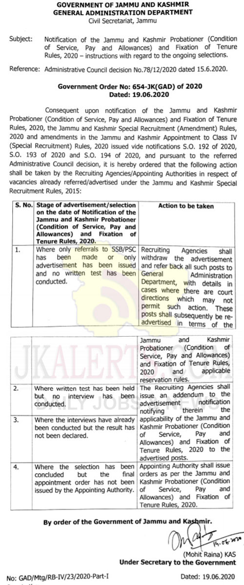 J&K Probationer Condition of Service Pay, Allowances, Fixation of Tenure Rules 2020.