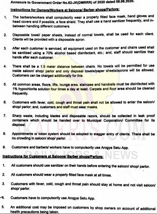 J&K Govt Important Instructions for owners, customers of Saloons, Barber Shops, Parlors.