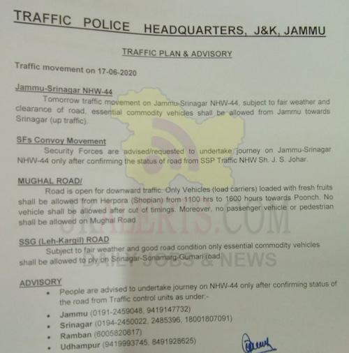 Jammu Srinagar Traffic News for 17-06-2020.
