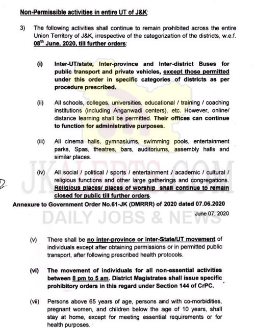 J&K Government issues guidelines on lockdown measures with effect from tomorrow.