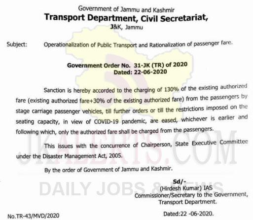 J&K Govt raised passenger fare by 30 percent.