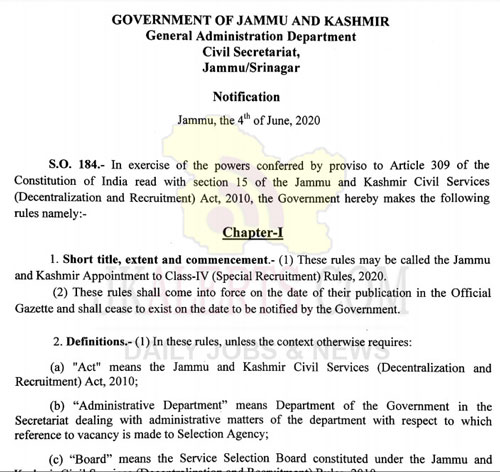 JKGAD, J&K ,Appointment ,Class-IV ,Special Recruitment rules, 2020.