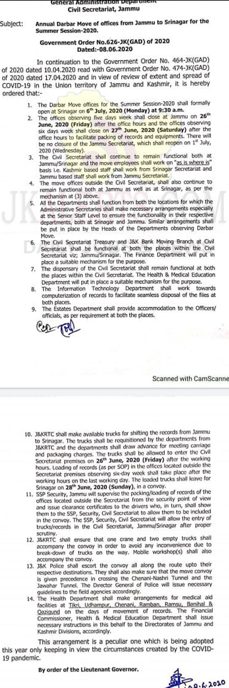 All Darbar Move offices to be closed in Jammu on Friday 26 June