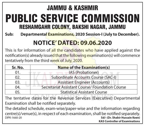 JKPSC Examination update.