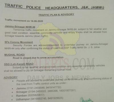 Jammu Srinagar Traffic news