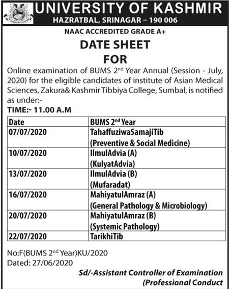 Kashmir University Date Sheet Notification 2020.