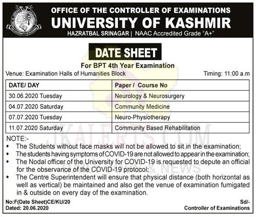 Kashmir University Datesheet for BPT 4th Year Examination.