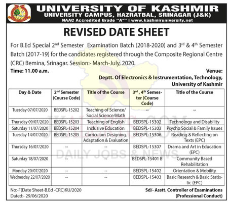 KASHMIR UNIVERSITY REVISED DATE SHEET.