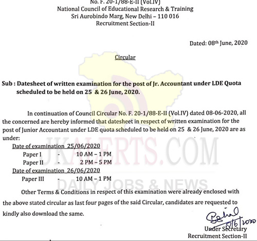 NCERT Datesheet of written examination for the post of Jr. Accountant.