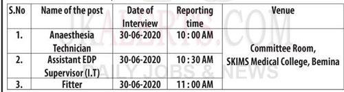 SKIMS , SKIMS Medical College ,Conduct ,interview ,viva-voce , SKIMS various posts., SKIMS Recruitment , SKIMS JObs