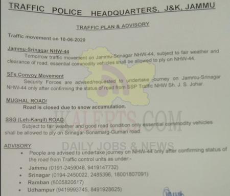 Srinagar Jammu NHW-44 Traffic update 10-06-2020.