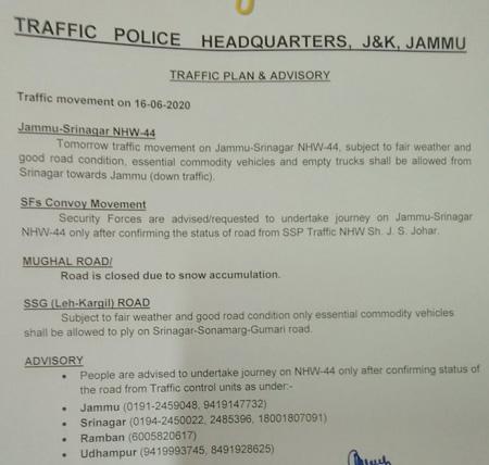 Jammu Srinagar Traffic News for 15-06-2020.