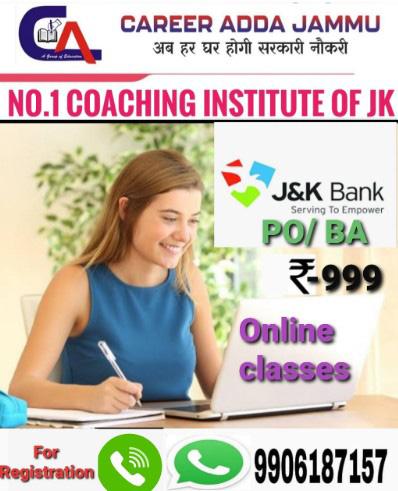 online classes for JK BANK (PO/BA) 1850 POSTS