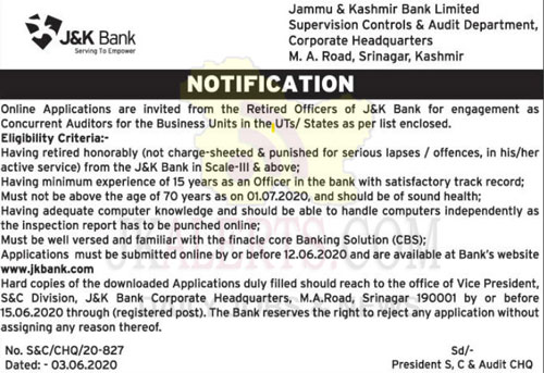 Fresh JK Bank Job notification In latest JKBank Employment Notification J&K Bank