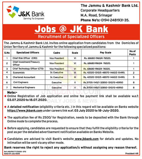 Jobs @ JK Bank  Recruitment of Specialized Officers.
