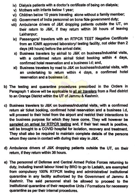 Testing and quarantine procedures of travelers coming into J&K