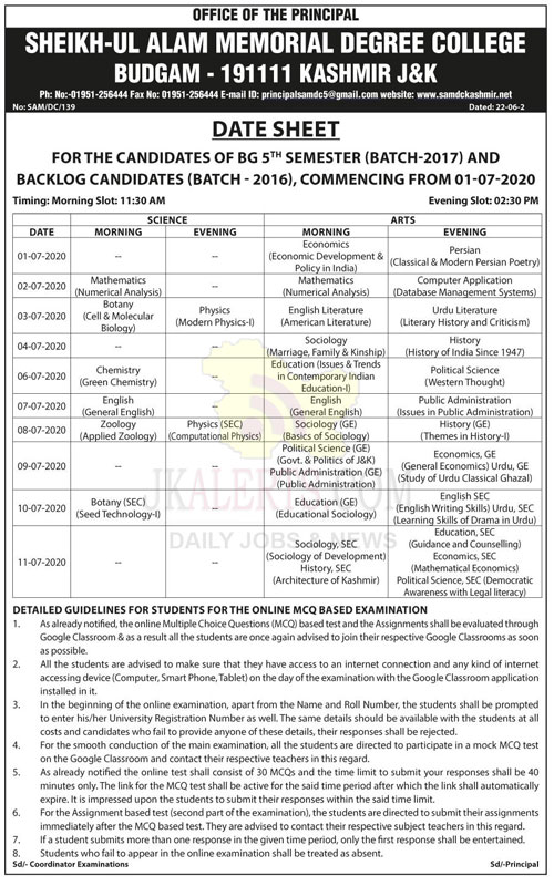Degree College Budgam Date Sheet.