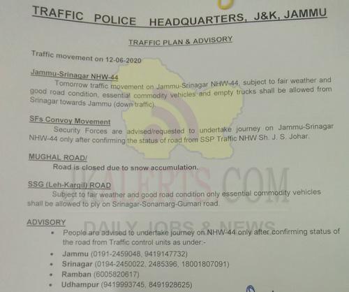 Traffic plan for 12-06-202o.