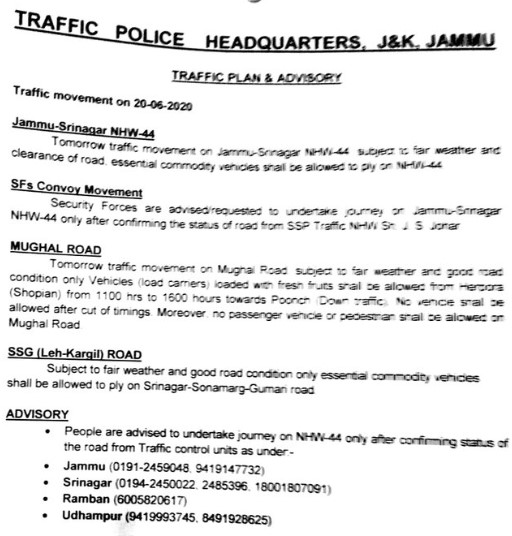 Traffic update Srinagar Jammu 19-06-2020