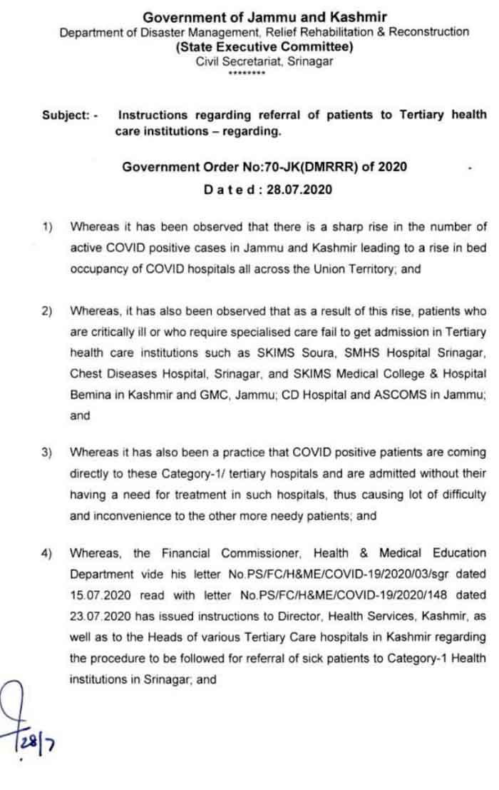 JK Govt issues instructions regarding referral of patients.