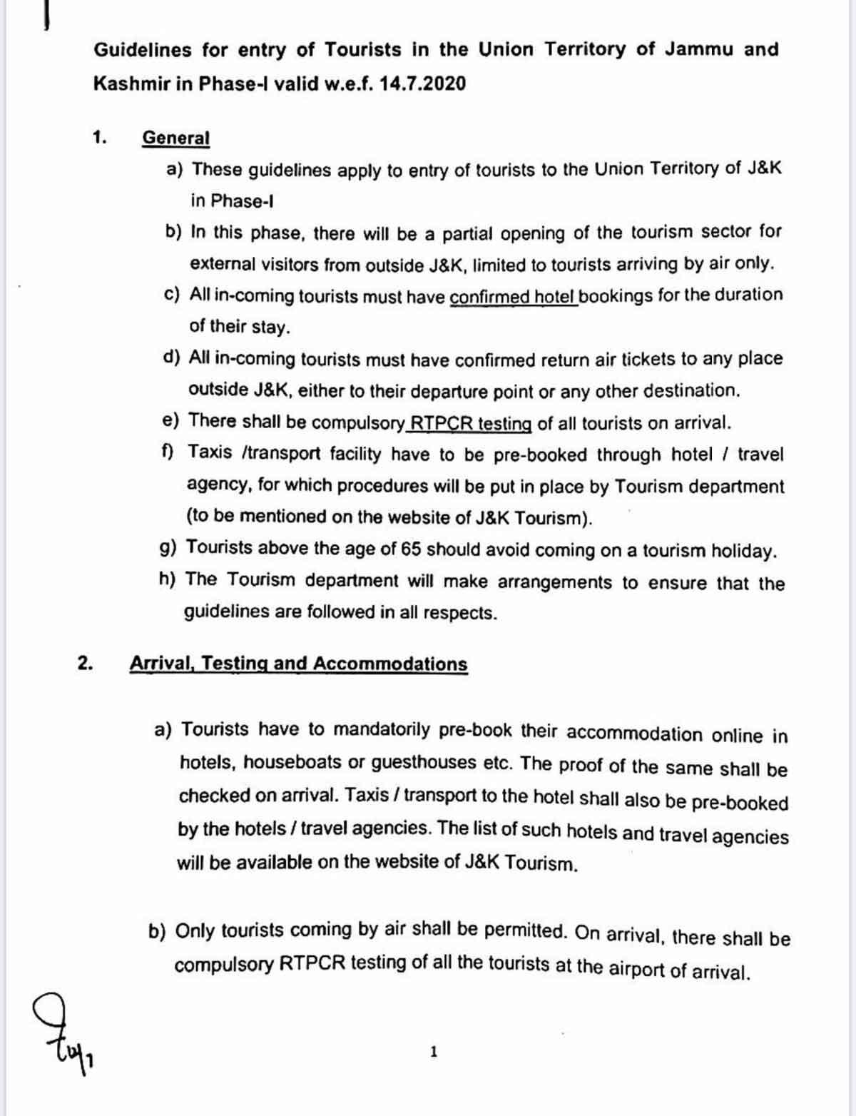 J&K Govt guidelines for tourists.