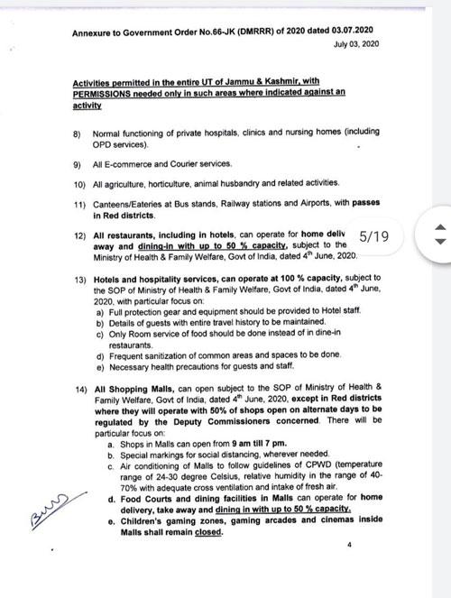 J&K, Lockdown ,Guidelines, Instructions ,w.e.f. 4/7/2020.