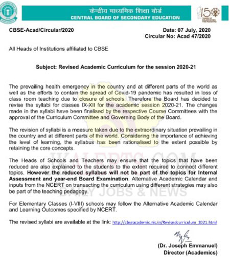 Curriculum for the Academic Year 2020-21 Secondary Curriculum (IX-X) Senior Secondary Curriculum (XI-XII)