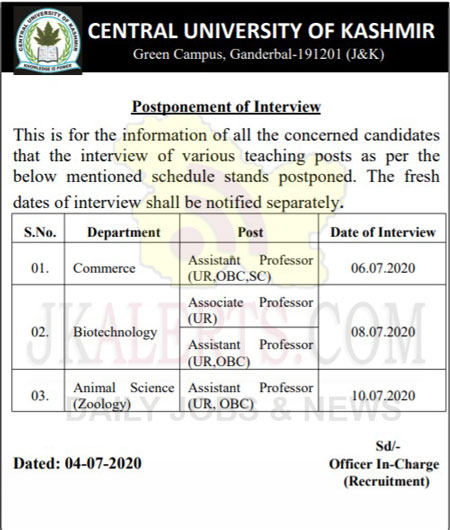 Central University Kashmir, CUK Notification, CUK Interview, Central university Postponed Interview.