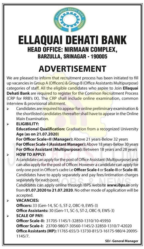 Ellaquai Dehati Bank EDB Recruitment 2020