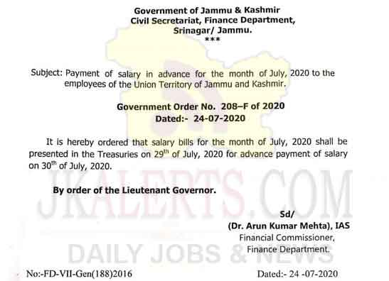 J&K Lt Governor orders payment of salary in advance for month of July.