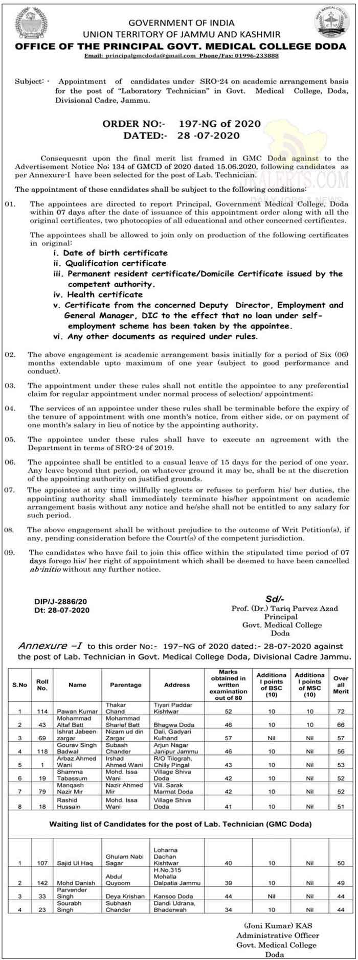 GMC DODA Appointment of Laboratory Technician.