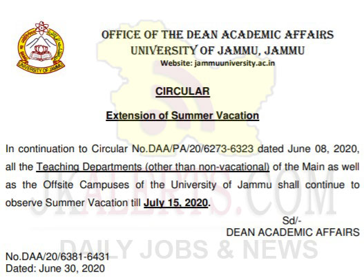Jammu University Summer Vacation extension notification.