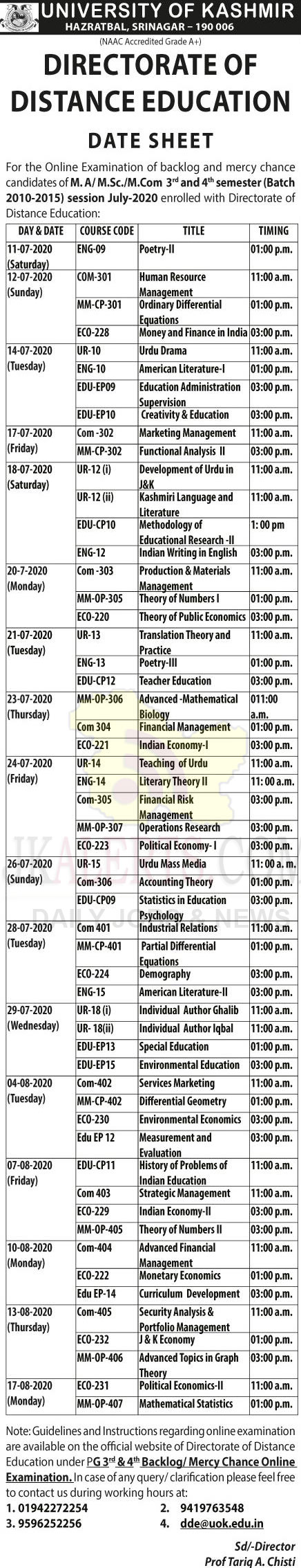 Kashmir University Distance Education Date Sheet M.A, M,Sc, M.Com.