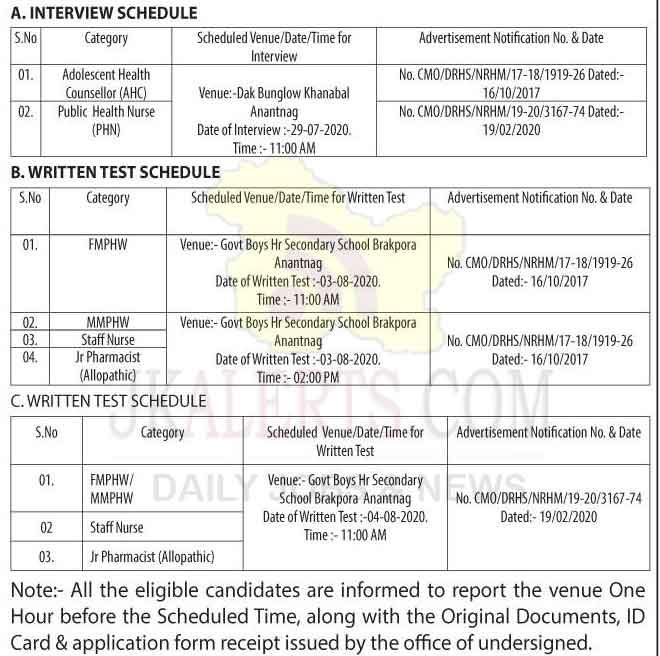 NHM Anantnag Written test & Interview schedule.