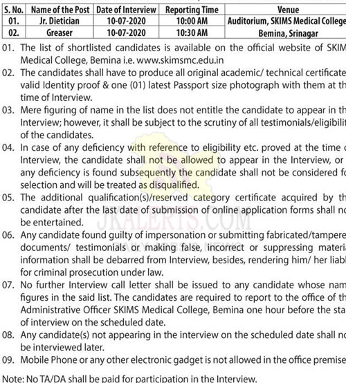 SKIMS Medical College interview/viva-voce for Jr. Dietician and Greaser.
